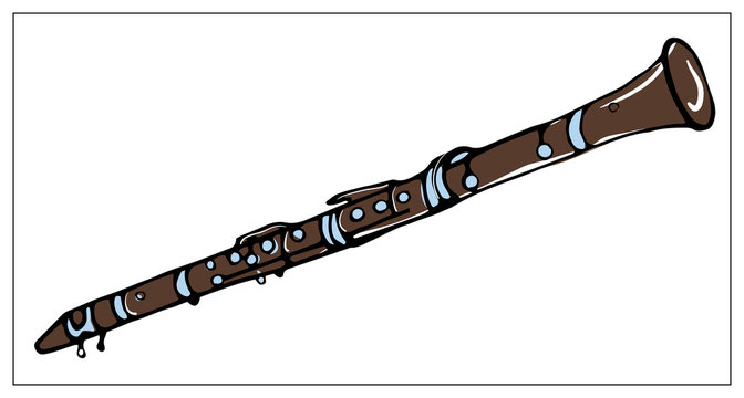 Vector greeting card with clarinet. Multicolored hand drawn illustration.
