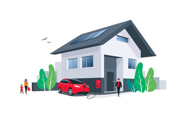 Red electric car parking charging at home wall box charger station on house with a man. Renewable energy solar panels on roof. Family living with ev. Isolated vector illustration on white background.