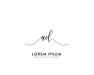 Initial letter AD beauty handwriting logo vector