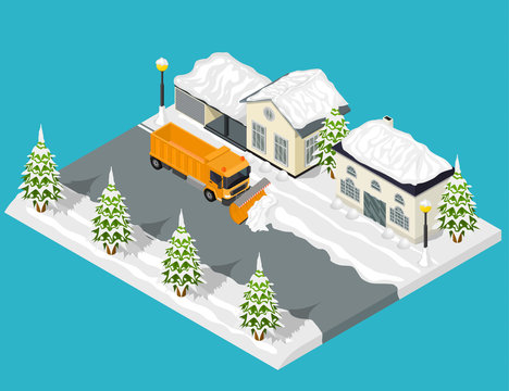 Snow Removal from Road Scene Concept 3d Isometric View. Vector
