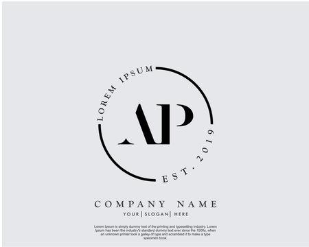 Initial letter AP beauty handwriting logo vector
