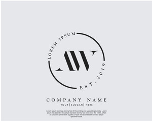 Initial letter AW beauty handwriting logo vector