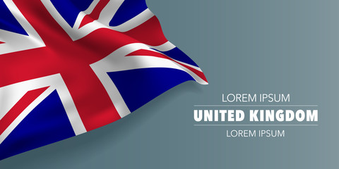 United Kingdom of Great Britain day greeting card, banner with template text vector illustration