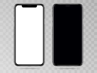 New Version of High Detailed Black Slim Realistic Smartphone isolated on Transparent Background. Front View Display.