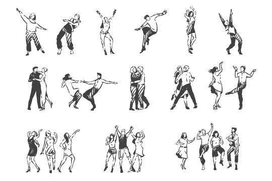 People dancing to music concept sketch. Hand drawn isolated vector