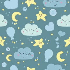 vector seamless pattern, cute children's embroidered with decorative stitching elephants, bows, balls, stars, night