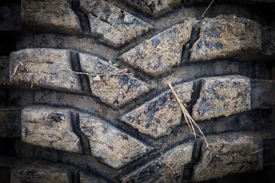 Muddy off road tire on a 4x4 car