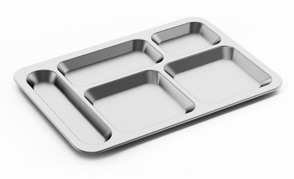 Metal table d'hote tray isolated on white background. 3D illustration