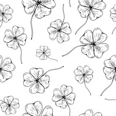 Clover pattern. Hand drawn four leaf clovers on transparent backdrop. Seamles vector background