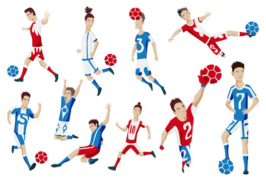 Set of football player characters showing different actions. Cheerful soccer player standing, running, kicking the ball, jumping, celebrating victory. Simple style vector illustration.
