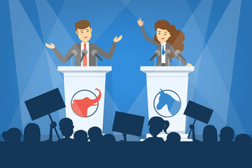 Debate concept. Candidate for president at the tribune