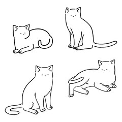 Minimal line cats set, cute cats doodle, hand drawn style vector illustration.