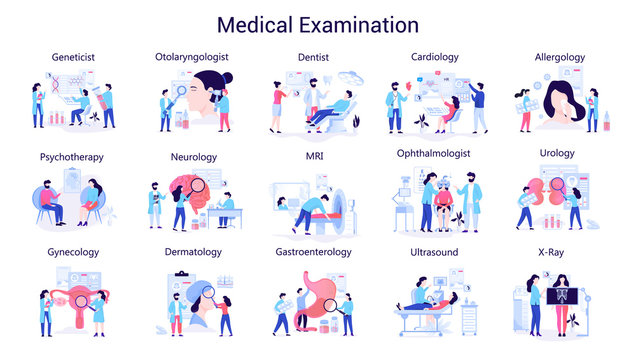 Doctor and medicine big set. Collection of medical examination