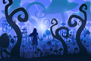 Girl in a magical mushroom forest. Psychedelic mushrooms. Vector illustration.
