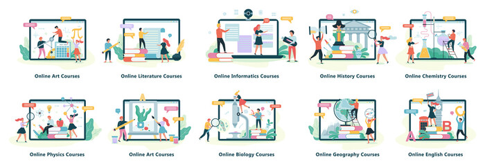 Online education web banner. Idea of distance