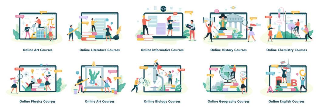 Online education web banner. Idea of distance