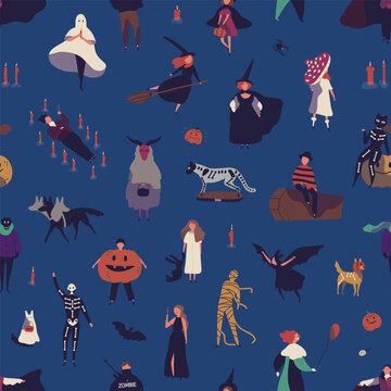 Halloween characters flat vector seamless pattern