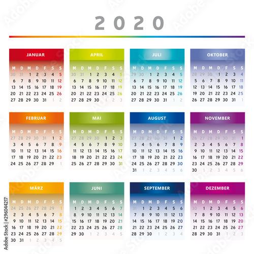 Calendrier Allemand 2020.Calendrier 2020 Couleurs Arc En Ciel 4 Colonnes