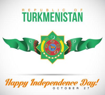 illustration banner with Turkmenistan flag and coat of arms. October 27th National day of Turkmenistan, 3d design. Celebration independence day 27 October. Ashgabat.