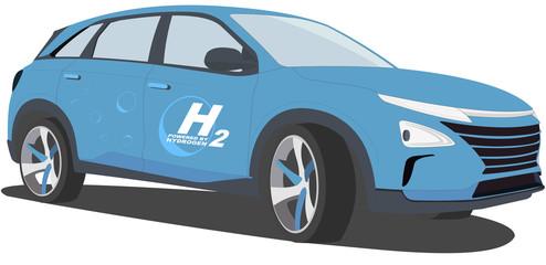 Hydrogen car (Sport utility vehicle - suv) - Fuel cell vehicle - hydrogen-powered fuel cell - next fuel (blue)