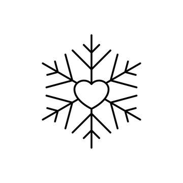 Icono plano lineal copo de nieve con corazón en color negro