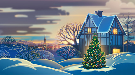 Printed kitchen splashbacks Beige Festive winter landscape with a village and decorated Christmas tree. Raster illustration.