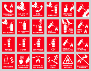 Set of fire safety signs. Collection of warning signs. Vector illustration. Signs of danger. Signs of alerts. Fire icons.