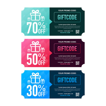 Template red and blue gift card. Promo code. Vector Gift Voucher with Coupon Code. Vector illustration.