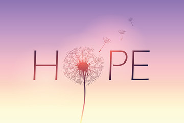 Poster Positive Typography hope typography with dandelion on purple sky background vector illustration EPS10