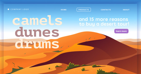 Fotobehang Blauw Vector landing page design template with beautiful flat hot desert dunes landscape illustration. Special offer, vacation discount banner concept. For travel agency, touristic firm