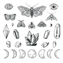 Mystical set with butterflies, crystals and moon phases. Boho style vector illustrations isolated on white. Wiccan symbols and objects.