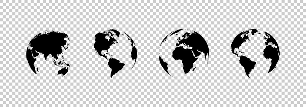 earth globe collection. set of black earth globes, isolated on transparent background. four world map icons in flat design. earth globe in modern simple style. world maps for web design. vector