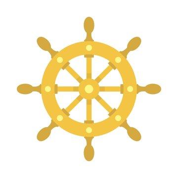 Ship wheel icon. Flat illustration of ship wheel vector icon for web design