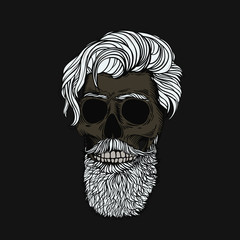Gray-haired bearded skull. Stylish men's hairstyle and beard. Picture for halloween, barbershop and clothes.