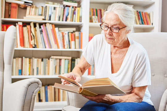 Senior woman reads concentrated in a book
