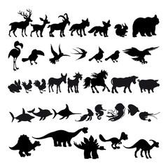 Silhouettes of cartoon animals