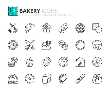 Outline icons about bakery products