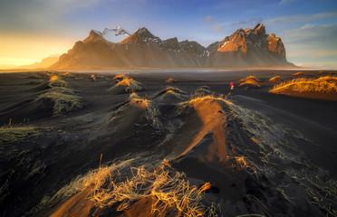 Obraz Vestrahorn mountain with black volcanic lava sand dunes at sunset, Stokksnes, Iceland - fototapety do salonu