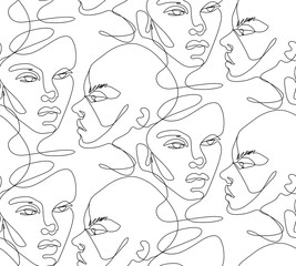 One line seamless pattern. Continuous line drawing background.