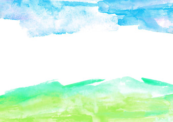 Tuinposter Wit Watercolor abstract background, pattern, spot, splash of paint, blot, divorce. Grunge pattern. Abstract sky painting. Paint template, green, blue paint color. Nature background