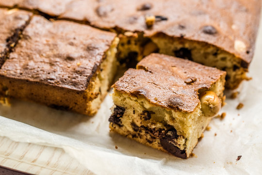 Blondie Brownie with Peanut Butter, White Chocolate and Roasted Peanuts. Homemade Cake Dessert / Blonde Brownie Pieces.