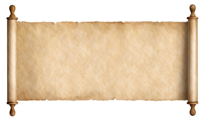 old paper scroll or parchment isolated Wall mural