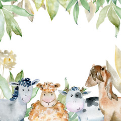 Watercolor farm card.