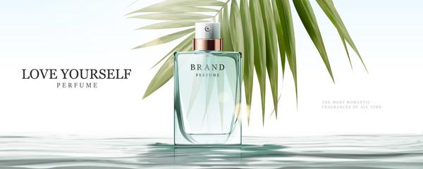 Elegant perfume glass bottle ads