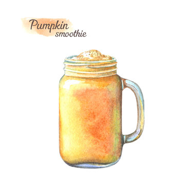 Hand drawn watercolor illustration of summer fresh cocktail or smoothie with pumpkin and orange. Isolated on white background.