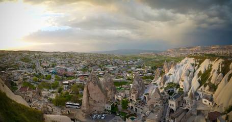 Sunset panoramic view to Goreme city, Cappadocia, Turkey