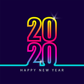 2020 number new year colorful rainbow color