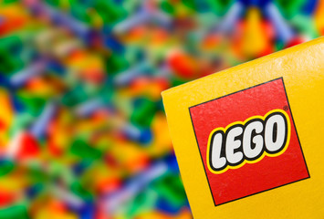 Illustrative editorial photo of logo LEGO on the box.