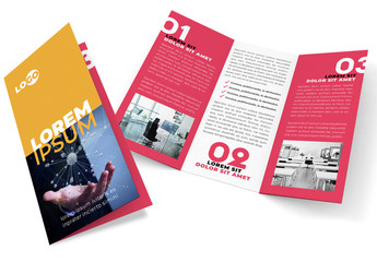 Orange and Pink Trifold Brochure Layout