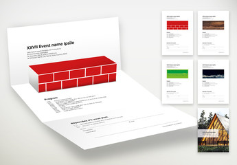 Event Invitation Layout with 3D Fold Effect